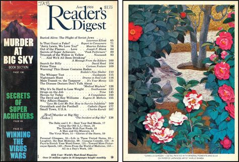 """Reader's Digest front and back cover, June 1986  Art Director: Donald H. DuffyBack cover art: """"Camellia Garden"""" by Haruo Bamba"""