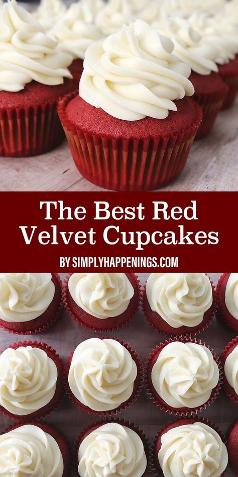This recipe will show you how to make the best red velvet cupcakes with cream cheese frosting from scratch that melts in your mouth. Red Cupcakes, Mocha Cupcakes, Cupcakes With Cream Cheese Frosting, Banana Cupcakes, Gourmet Cupcakes, Red Velvet Cupcakes, Cupcake Recipes, Baking Recipes, Dessert Recipes