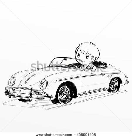 Cartoon Boy And Girl Driving Classic Car Stock Photo