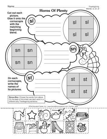 A Phonics Worksheet For Thanksgiving That Reinforces Initial Consonant Blends Themailbox Thanksgiving Worksheets Homeschool Phonics Thanksgiving Theme Thanksgiving phonics worksheets