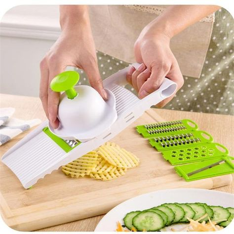 Mandoline Vegetable Slicer With Stainless Steel Blades - green / Without Box