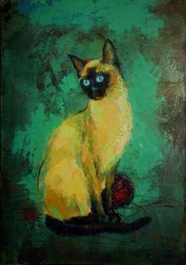 Siamese Cat Painting Pinturas De Gato Pintura De Gato