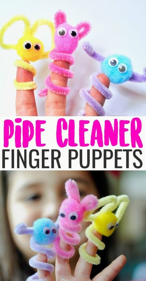 Pipe Cleaner Finger Puppets are an easy, mess-free kids craft and boredom buster perfect for rainy days! Pipe Cleaner Finger Puppets are an easy, mess-free kids craft and boredom buster perfect for rainy days! Summer Crafts For Kids, Projects For Kids, Art For Kids, Kids Arts And Crafts, Cool Kids Crafts, Crafts For Rainy Days, Spring Crafts, Creative Crafts, Craft Ideas For Girls
