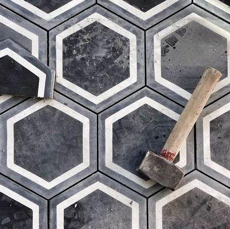 Black Concrete Hexagonal Tiles Texturen Muster Kreative Erfindungen Beton Design