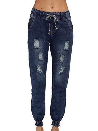 Jeans Mujer Cintura Elástica con Cordón Pantalones Rotos