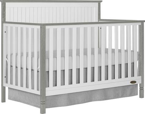 Rosamund White Silver Convertible Crib Convertible Crib Cribs