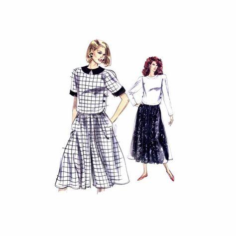 1980s Misses Top Skirt Culottes Vogue 7529 Vintage Sewing Pattern
