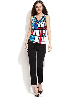 Calvin Klein Sleeveless Printed Blouse & Classic-Fit Trousers