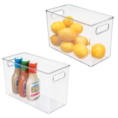Mdesign Plastic Kitchen Pantry Food Storage Organizer Bin 12 X 6 X 8 Clear Pack Of 4 In 2020 Food Storage Organization Food Storage Containers Kitchen Organisation Hacks