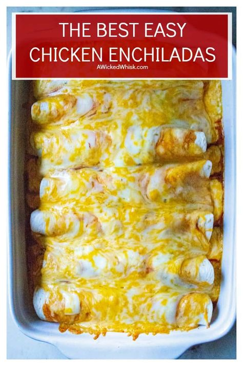 Easy Chicken Enchiladas is the BEST chicken enchiladas recipe ever! Made with homemade enchilada saYou can find Enchiladas recipe and more on our website.Easy Chicken Enchiladas is the BEST chicken enchiladas recipe ever! Made with home. Enchilada Sauce, Best Chicken Enchilada Recipe, White Chicken Enchiladas, Enchilada Recipes, Beef Enchiladas, Rotisserie Chicken Enchiladas, Bbq Pitmasters, Easy Cookie Recipes, Easy Dinner Recipes