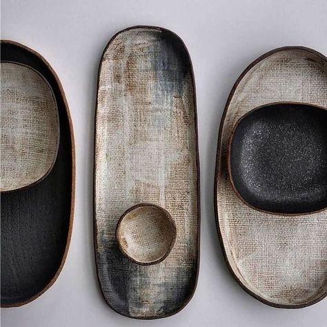 Ceramic tableware set with platters, plates, bowls. - Ceramic tableware set with platters, plates, bowls. Diy Tableware, Ceramic Tableware, Ceramic Clay, Ceramic Bowls, Stoneware, Kitchenware, Slab Pottery, Pottery Bowls, Ceramic Pottery