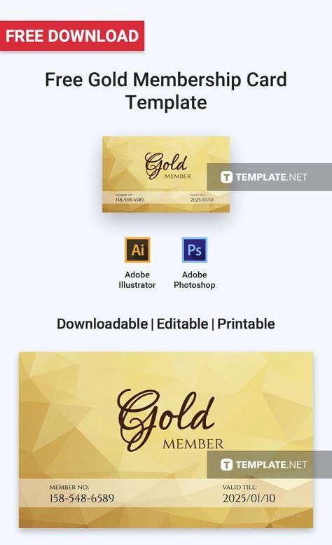 Free Gold Membership Card Card Templates  Designs 2019 Card