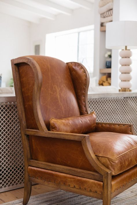 Traditional leather armchair in modern farmhouse living room design neutral liv Living Room Chairs, Decor, Farm House Living Room, Furniture, Club Chairs, Living Room Seating, Living Room Furniture, Room Decor, Living Room Decor Traditional