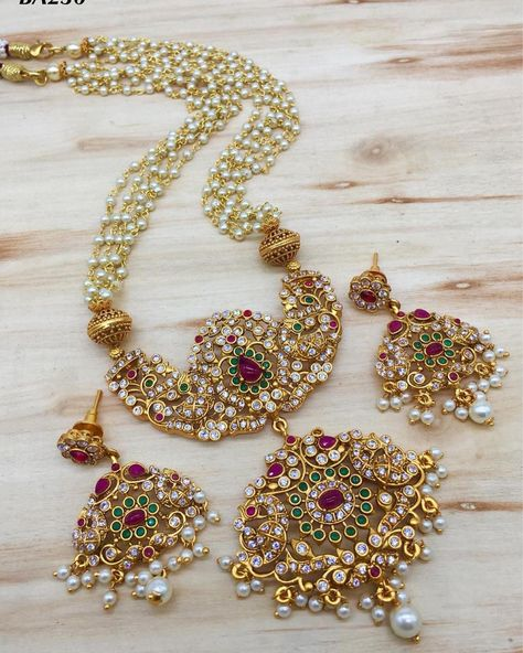 Indian Bollywood AD New Gold Pendent Long Necklace Fashion Jewelry Set A 813