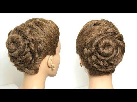 Flower Braided Bun Hairstyle Easy Updo Hair Tutorial Youtube Bun Hairstyles For Long Hair Easy Bun Hairstyles Easy Updo Hairstyles