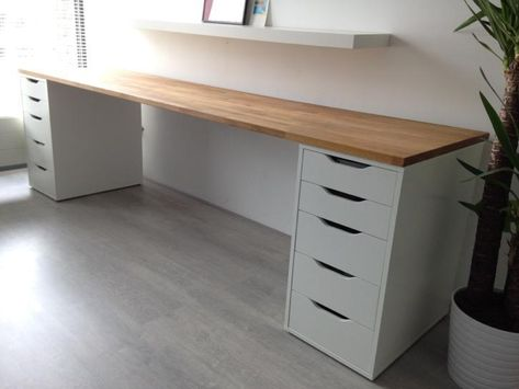 Tweedehands Bureau Ikea Met Massief Eiken Werkblad Te Koop