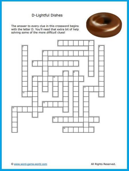 Tasty Food Crossword Puzzles For Kids Fun Puzzles Crossword