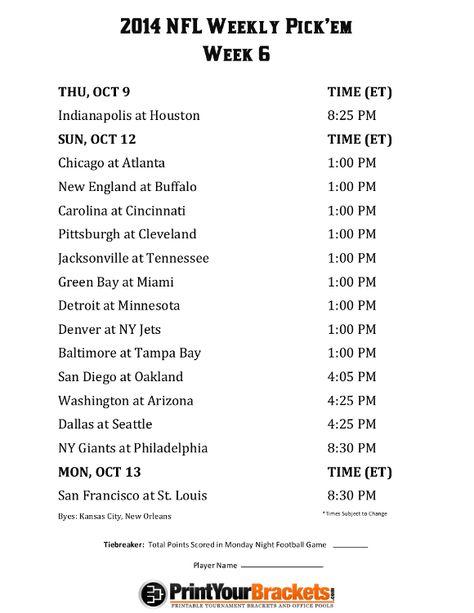 Printable Nfl Week 6 Schedule Pick Em Office Pool 2014 Nfl Week Nfl Week 1 Nfl