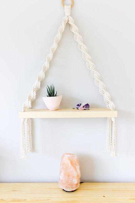 Macrame hanging rope shelf Succulent shelf wall planter