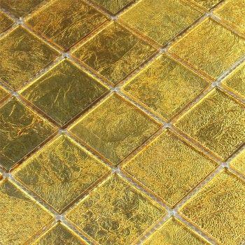 Mosaique Verre Effet Carrelage Or 48x48x4mm Carrelage Ceramique Carrelage Parement Mural
