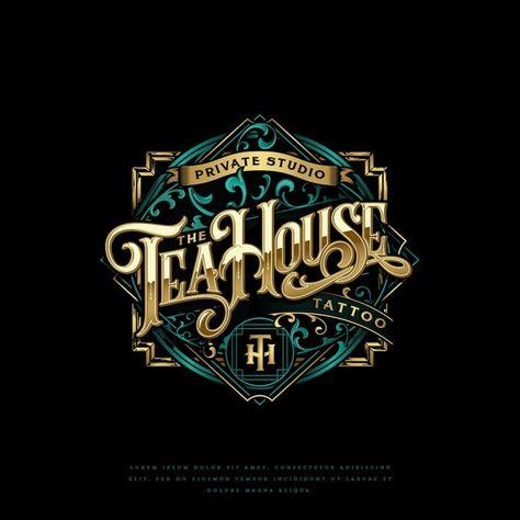 A vintage logo for an oriental tattoo shop, that serves tea... | Logo design contest
