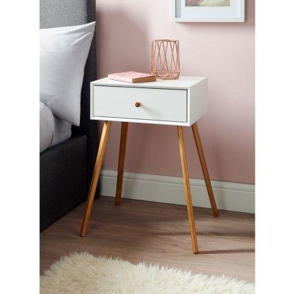 Bjorn Bedside Table - White | Bedside table design, Bedside ...