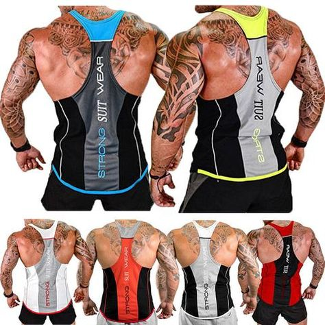 Gym Men/'s Muscle Sleeveless Tank Top Tee Shirt Bodybuilding Sport Vest Uk Stock