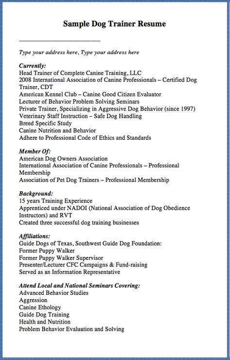 Sample Dog Trainer Resume Type your address here, Type your - barista job description resume