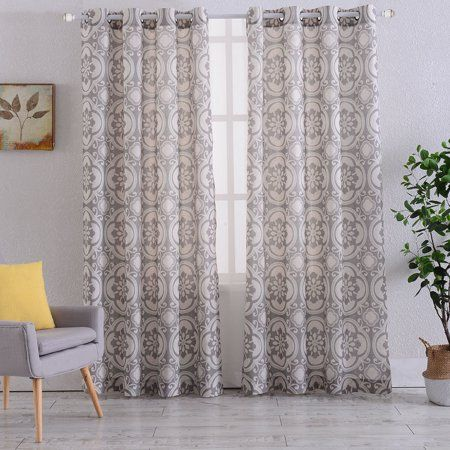 Floral Medallion Print Thermal Insulated Blackout Window Curtains
