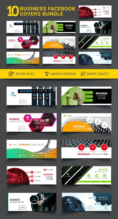 10 Business Facebook Covers Bundle by UNIK Agency on @creativemarket