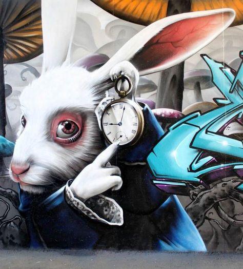 Grafite Alice No Pais Das Maravilhas Arte De Rua 3d Street Art