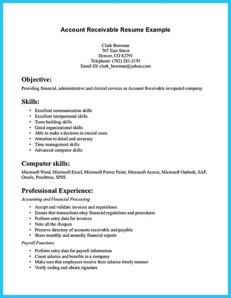 accounts receivable resume template interpersonal skills free examples resumes supervisor