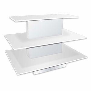 3 Tier Rectangular Waterfall Table White Rectangular Display Shelves Store Layout