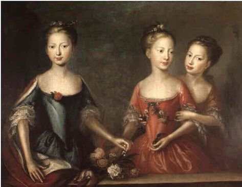 The daughters of George II (Anne, Amelia and Caroline) in 1721.