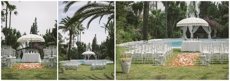 Outdoor wedding ceremony by pool