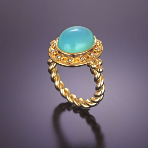 Andes opal TUV62.1 Blue Opal Ring of PEROU cabochon T 60