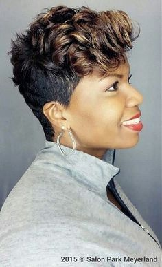 Black Short Curly Hairstyle Blackhairstyles Short Hair Styles