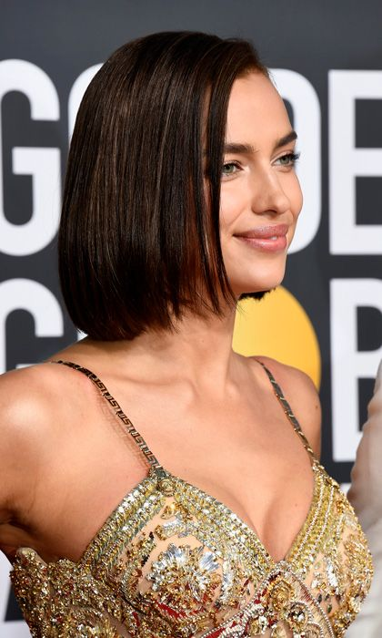 ce92d1250 Irina Shayk unveils impossibly chic 'glass hair' look at the Globes ...