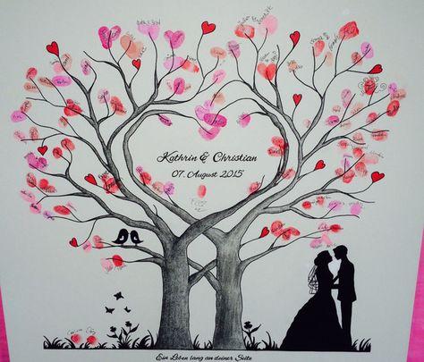 Hallo ihr Lieben, hier biete ich euch einen von mir mit Liebe handgemalten und personalisierten Wedding Tree an. Zum Bäumchen: Das Standard Bäumchen ist schwarz/weiß, mit 1 Blümchen, 2...