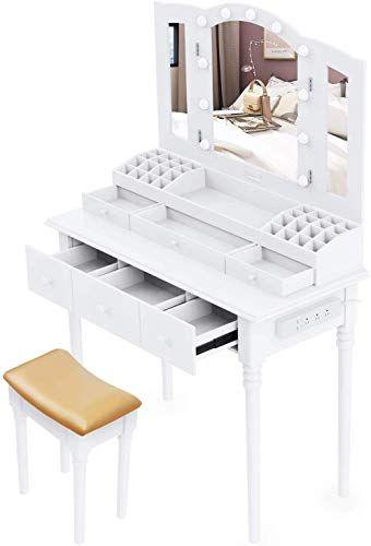 Best Seller Suninhome Dressing Table Vanity Set Multifunctional Makeup Table Stool Large Storage Vanity Big Mirror Waterproof Led Light Bulbs A Socket White In 2020 Dressing Table Vanity Waterproof Led Lights Led
