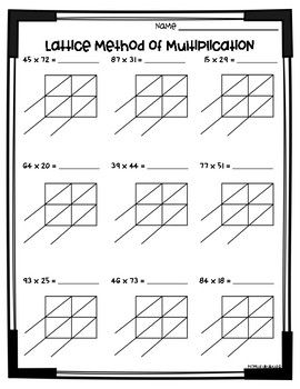 This Printable Includes 6 Pages Of Lattice Multiplication Practice Along With Detailed Answer K Lattice Multiplication Multiplication Worksheets Multiplication