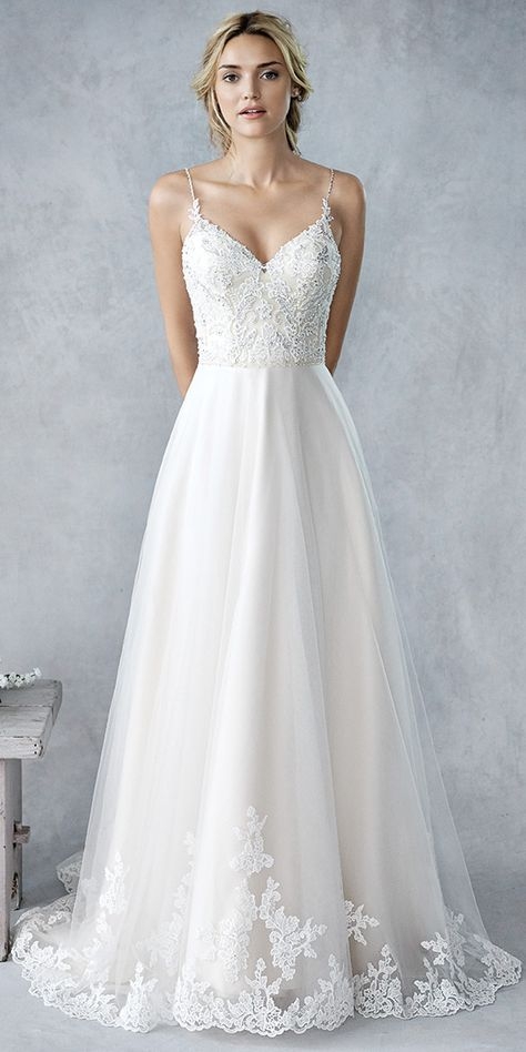 Ella Rosa BE426 | classic plain english net skirt with hemlace edge | stunning lace bodice with v-neckline and spaghetti straps | low illusion back | romantic wedding gown #weddingdress #weddinggown