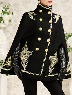 Black Stand Collar Wool Blend Embroidered Elegant Poncho And Cape