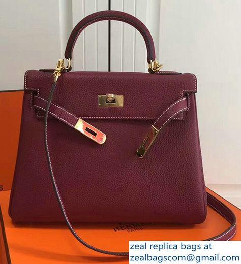 7b94dd46758b Hermes Kelly 28CM/32CM Bag In Togo Leather With Gold Hardware Burgundy