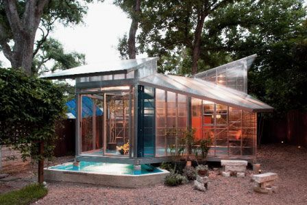 Modern Shed Design Ideas with Glass Wall and Transparent Roof