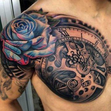 Simbolicos Y Tradicionales Tatuajes De Rosas Para Hombre Tatuajes De Rosas Para Hombres Tatuaje Steampunk Tatuaje Reloj Y Rosa