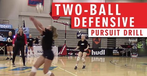 Two Ball Defensive Pursuit Drill The Art Of Coaching Volleyball Coaching Volleyball Volleyball Workouts Volleyball Drills