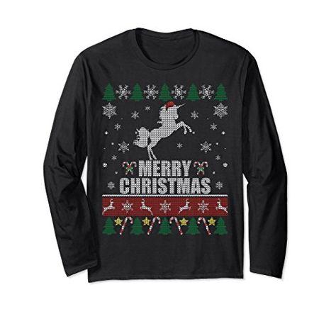Unisex Merry Unicorn Ugly Christmas Sweater Santa Long Sleeve Shirt