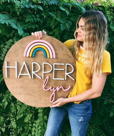 Rainbow sign Rainbow baby sign round wood name sign by the Trendy Timber Wooden Name Signs, Wood Names, Baby Name Signs, House Name Signs, Baby Name Art, Wooden Plaques, Nursery Name, Nursery Signs, Girl Nursery