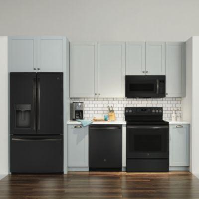 Image Result For Black Refrigerator White Cabinets Black